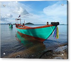 Colorful Turquoise Boat Near The Cambodia Vietnam Border Acrylic Print