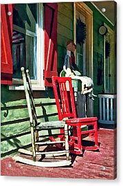 Two Rocking Chairs On Porch Acrylic Print by Susan Savad