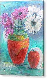 Colorful Vases And Flowers Acrylic Print