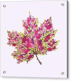Colorful Watercolor Autumn Leaf Acrylic Print