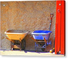 Colorful Wheelbarrows Acrylic Print by Margie Avellino