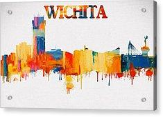 Colorful Wichita Skyline Silhouette Acrylic Print by Dan Sproul