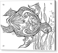 Coloring Page With Beautiful Turtle Drawing By Megan Duncanson Acrylic Print