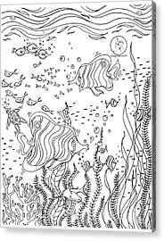 Coloring Page With Beautiful Underwater Scene Drawing By Megan Duncanson Acrylic Print