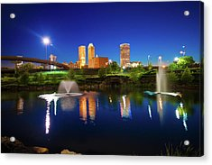 Acrylic Print featuring the photograph Colors Of Night Tulsa Oklahoma Downtown City Skyline by Gregory Ballos
