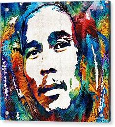 Colors Of Reggae - Bob Marley Tribute Acrylic Print by Sharon Cummings