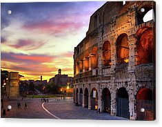 Colosseum At Sunset Acrylic Print by Christopher Chan