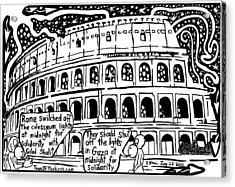 Colosseum Blackout For Gilad Shalit Maze Cartoon By Yonatan Frimer Acrylic Print by Yonatan Frimer Maze Artist