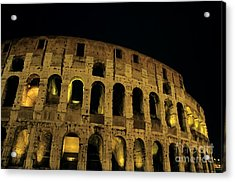 Colosseum Illuminated At Night Acrylic Print by Sami Sarkis