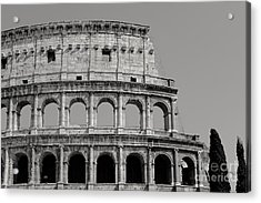 Colosseum Or Coliseum Black And White Acrylic Print by Edward Fielding