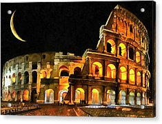 Colosseum Under The Moon Acrylic Print