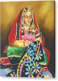 Acrylic Print featuring the painting Colour Of Rajasthan by Ragunath Venkatraman