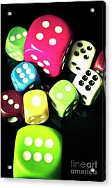 Colourful Casino Dice  Acrylic Print by Jorgo Photography - Wall Art Gallery
