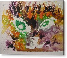 Acrylic Print featuring the drawing Colourful Cat Face by AJ Brown