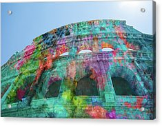 Acrylic Print featuring the mixed media Colourful Grungy Colosseum In Rome by Clare Bambers