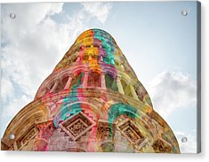 Acrylic Print featuring the mixed media Colourful Leaning Tower Of Pisa by Clare Bambers
