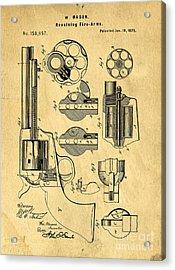 Colt Peacemaker Patent Art Blueprint Drawing Acrylic Print