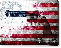 Colt Python 357 Mag On American Flag Acrylic Print