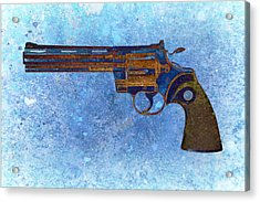 Colt Python 357 Mag On Blue Background. Acrylic Print