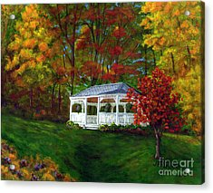 Acrylic Print featuring the painting Colton Gazebo by Judy Filarecki