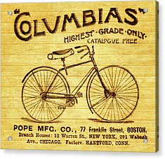 Acrylic Print featuring the mixed media Columbia Bicycle Vintage Poster On Wood by Dan Sproul