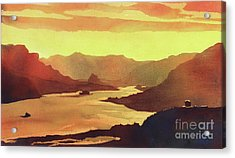 Acrylic Print featuring the painting Columbia Gorge Scenery by Ryan Fox