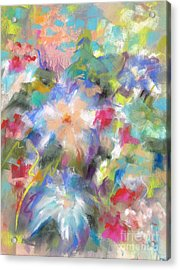 Acrylic Print featuring the painting Columbine In The Wildflowers by Frances Marino