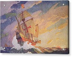 Columbus Crossing The Atlantic Acrylic Print by Newell Convers Wyeth