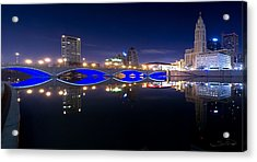 Columbus Oh Blue Bridge Reflections Acrylic Print by Shane Psaltis