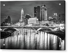Acrylic Print featuring the photograph Columbus Ohio Downtown Skyline In Black And White by Gregory Ballos