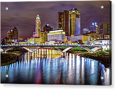 Columbus Ohio Downtown Skyline In Color Acrylic Print by Gregory Ballos