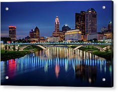 Acrylic Print featuring the photograph Columbus Ohio Skyline At Night by Adam Romanowicz