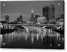 Acrylic Print featuring the photograph Columbus Ohio Skyline At Night Black And White by Adam Romanowicz