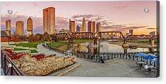 Columbus Ohio Skyline At Sunset Acrylic Print by Scott McGuire