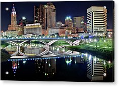 Columbus Over The Scioto Acrylic Print by Frozen in Time Fine Art Photography
