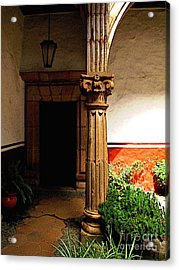 Column In The Corridor Acrylic Print by Mexicolors Art Photography
