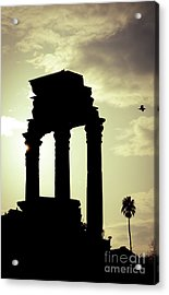 Column Sunset Temple Of Castor And Pollux In The Forum Rome Italy Acrylic Print by Andy Smy