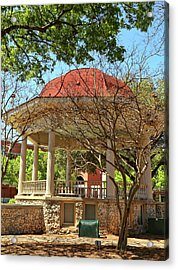 Comal County Gazebo In Main Plaza Acrylic Print by Judy Vincent