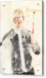 Comical Cleaning Man Acrylic Print