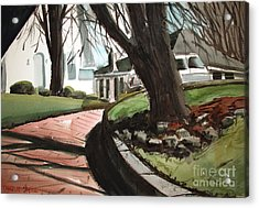 Acrylic Print featuring the painting Coming Down The Pink Road Framed by Charlie Spear