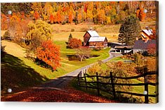 Coming Home In A Vermont Autumn Acrylic Print by Jeff Folger