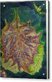 Coming To Me Floating Leaf  Acrylic Print by Anne-Elizabeth Whiteway