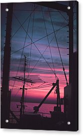 Commercial Riggings With Sunset Acrylic Print by PhotographyAssociates