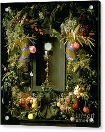 Communion Cup And Host Encircled With A Garland Of Fruit Acrylic Print by Jan Davidsz de  Heem