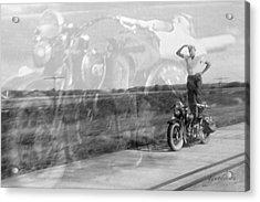 Composite Of 2 Old Harley Davidson Photographs Acrylic Print