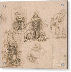Compositional Sketches For The Virgin Adoring The Christ Child Acrylic Print