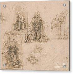 Compositional Sketches For The Virgin Adoring The Christ Child Acrylic Print by Leonardo Da Vinci