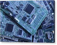 Computer Boards And Chips Lie In A Pile Acrylic Print by Taylor S. Kennedy
