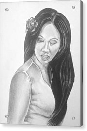 Long Hair Asian Lady With Rose In Sorrow Charcoal Drawing  Acrylic Print