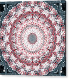 Concrete And Red Mandala- Abstract Art By Linda Woods Acrylic Print
